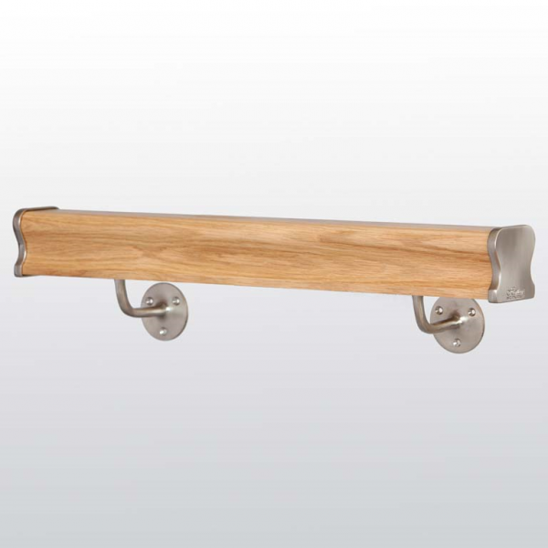 Clear Lacquer Oak _ Brushed Nickel Wall Mounted Web