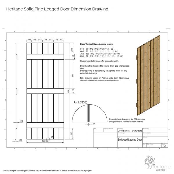Pine V Grooved Ledged Door Dimension Drawing