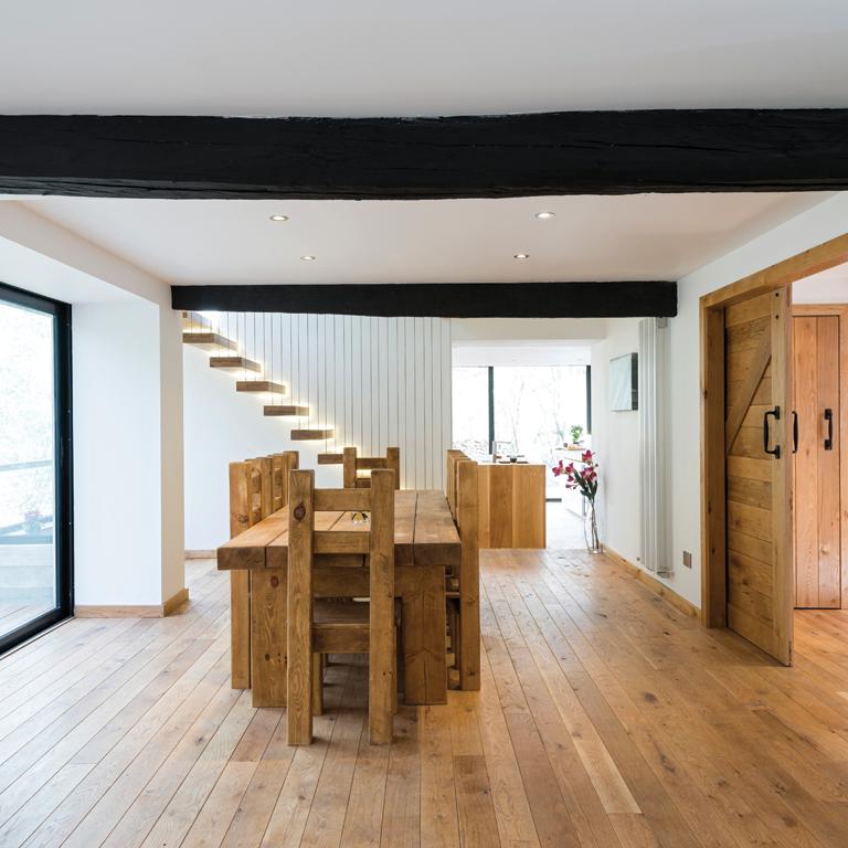 Rustic Oak Flooring Dining Room Square